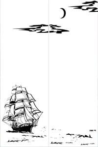 Векторные шаблоны для шкафа купе - Море, Корабли, Рыбы